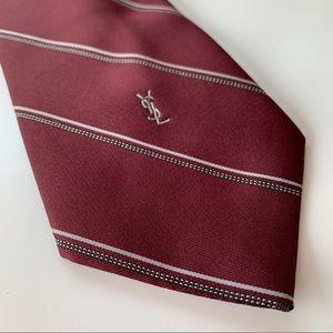 Yves Saint Laurent Neckwear Purple Stripe Mens Tie